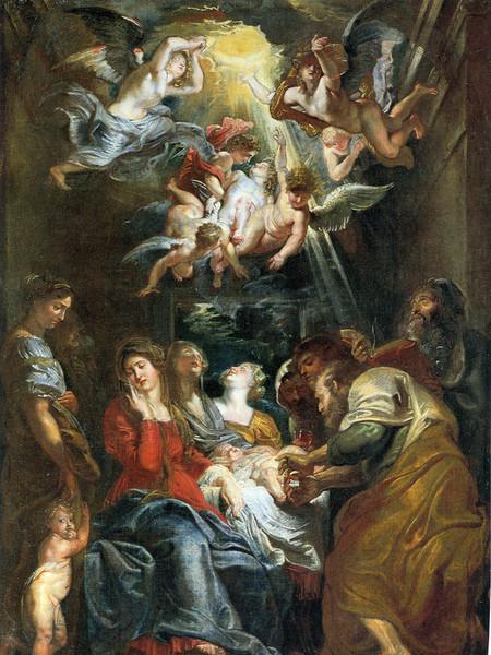 La circuncisión,1604.105x73cm Viena. Rubens envió a Génova dsde Mantua o Roma un boceto pequeño destinado a los jesuitas.Episodio relatado Lc 2,21.Espléndida composición.