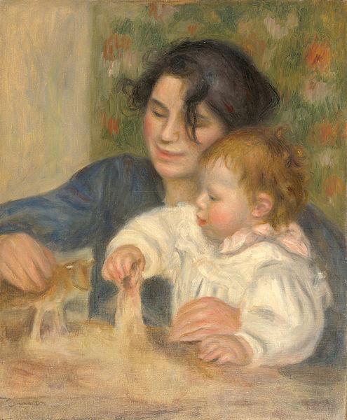 """August Renoir, Gabrielle et Jean 1895-96.65x54cm Su evolución como autor se ve intimamente ligada a los lugares que habita, describe atmósferas, luces, sentimientos, todo un """"mar de tonos"""" que disuelven las formas."""