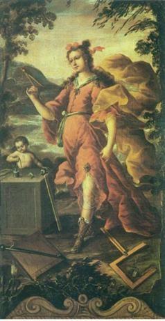 Detalle del biombo de Juan Correa, las 7 artes liberales,la Aritmetica y Geometría con sus atributos algunos clásicos y otros criollos.