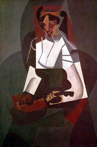 Juan Gris.Mujer con mandolina según Corot, 1916.Maestro del cubismo junto a Picasso.Tuvo escaso predicamento en los circuitos culturales españoles, a pesar de serlo desarrolló su obra en Francia.