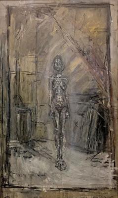 Albert Giacometti. Desnudo de pie en el estudio 1954. Óleo sobre lienzo 96x60cm. Mariann Steegmann Art Foundation.