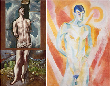 Derecha: Robert DELONAY,Gitano de 1915(Centro de Arte Reina Sofía) hizo su reinterpretación original y sutil a medio camino con el cubismo, en su larga estancia en España.Izquierda San Sebastian del Greco.M.Prado.