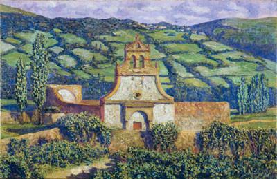 El pueblo de Quevedo en el Valle de Toranzo.1910.Óleo sobre lienzo.36x56cm.Museo Nacional de Arte de Cataluña.