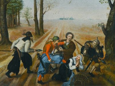 Marten van Cleve.Pareja de campesinos atracados por asaltadores.1570-77.Óleo sobre tabla.33x47cm.Colección privada.