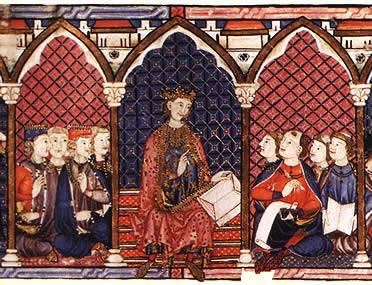 Cantigas de Alfonso X el sabio y la importancia de la escuela de traductores de Toledo, donde eruditos de las 3 religiones realizaron importantes trabajos de traducción de textos de la antiguedad clásica además de un legado  artístico,cultural y cient.
