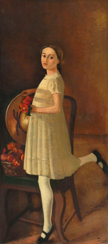 Derain,La sobrina del pintor 1931.Óleo sobre lienzo,171x77cm.Musée de l´Orangerie,Paris.Gran sobriedad y elegancia,los retratos cobran misterio,pues aparecen abstraidos en una realidad cotidiana.El silencio y la inmovilidad del personaje los hace solemnes