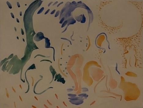 Derain.Bañistas 1906. Colección particular. Cuando el grupo se empieza a desintegrar comienza cada uno su camino, Derain claramente por lo primitivo o arcádico.