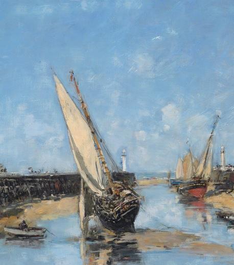 Eugène Boudin.Los muelles de Truville,marea baja 1890.Óleo sobre lienzo 40x55cm.Colección privada.