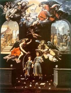 Santos Justo y Pastor de Jose Suarez,1635-1655, Museo Nacional de Arte. Dos niños de 8 y 10 años que fueron martirizados en el SIV en época de Diocleciano. Fue un culto muy español que se trasldó al Nuevo Mundo