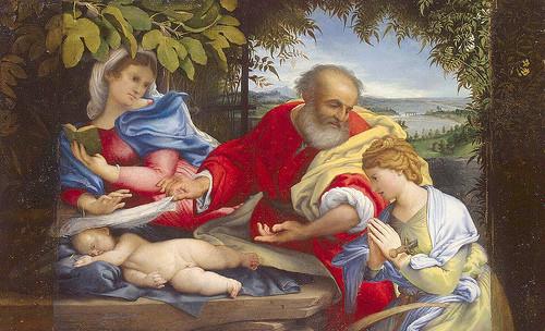Descanso en la Huida a Egipto con Santa Justina, Lorenzo Lotto, 1529. Recientemente restaurada donde aparecieron la exquisita gama de colores.