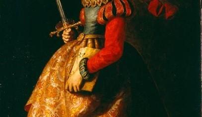 Santa Catalina de Alejandría sostiene la espada con la que fue degollada, cierto caracter teatral de la santa,elegante perfil, severidad del gesto y cierto distanciamiento.1640 Zurbarán.