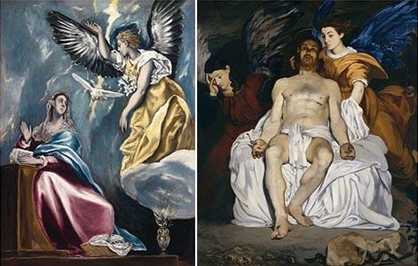 Izquierda:La Anunciación del Greco en Budapest,1600 sirvió de inspiración a MANET en su Cristo muerto con ángeles.N.York, en la que es posible relacionar las alas de los ángeles.