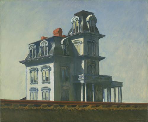 Edward Hopper,Casa junto a la vía del tren (house by Railroad)Óleo sobre lienzo 1925. La soledad de las ciudades modernas, luz cenital, diágonales acentuadas que marcan melancolia.Casas victorianas protagonistas solitarias.