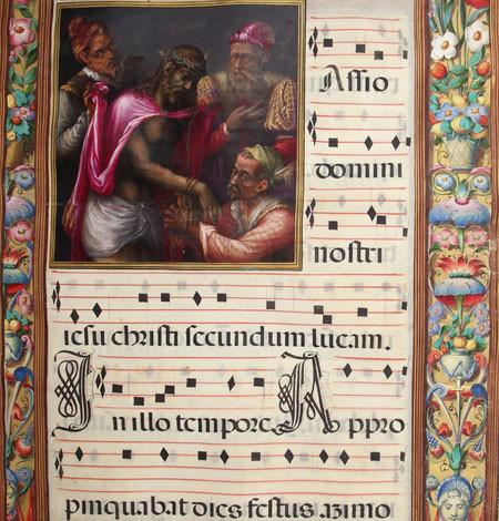 Fray Julian de la Fuente el Saz y taller del Escorial.PASSIONARIUM III, 1577-1586,pergamino encuadernación en vaqueta guarnecida de latón dorado, viñetas de 200x200mm