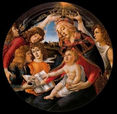 La Virgen del Magnificat, Botticelli,Florencia. Detalle de la granada en las manos de la Virgen y el Niño.