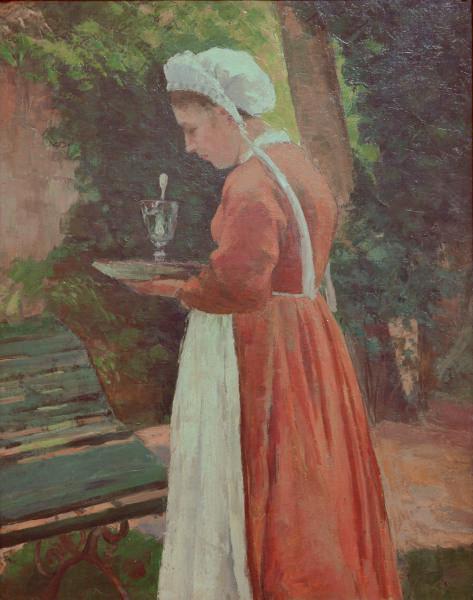 """La criada 1875.Óleo sobre lienzo.92x73cm.The Crysler Museum,Norfolk,Virginia.El artista en un """"mundo entre iguales"""" trata con la misma dignidad enalteciendo las mujeres trabajadoras, toda una riqueza compartida."""