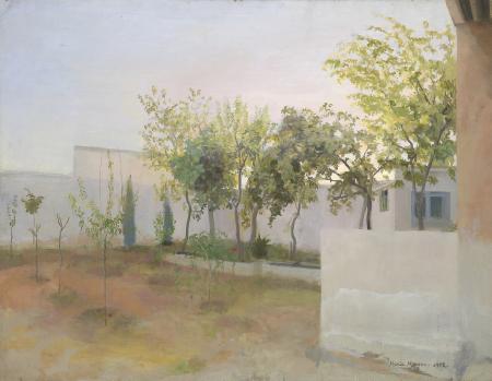 María Moreno, Jardín de frutales 1972. Óleo sobre tabla,64x82cm.Colección privada.