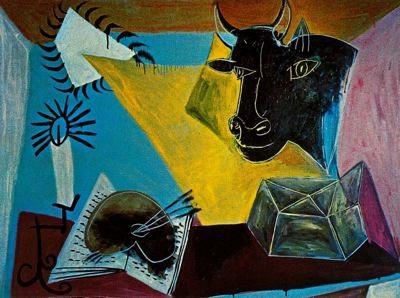 Picasso,Naturaleza muerta con vela,paleta y cabeza de toro negra.1938.Óleo sobre lienzo.97x130cm.Herederos del artista.