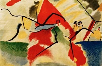 IMPROVISACIÓN V.Parque. 1911.Óleo sobre lienzo.106x157cm.Donación Nina Kandinsky.Esta obra supone un punto de inflexión, anuncia un claro giro hacia la abstracción.Este año publica De lo espiritual en el arte. Evoca dos caballos en un paisaje