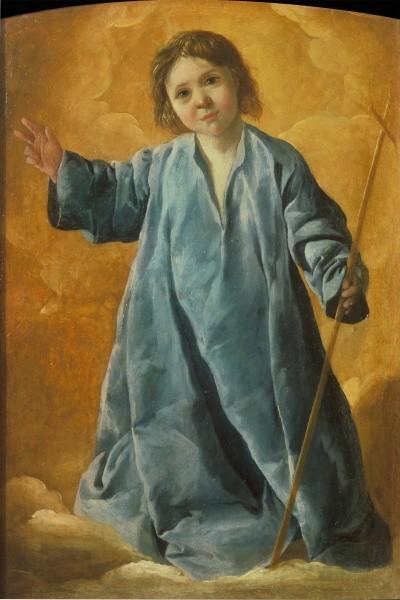 Zurbarán,1630.Niño Jesus bendiciendo,Moscú,Museo Pushkin.Para el sagrario de la iglesia de los trinitarios calzados,era del propio Zurbarán, mientras que los 6 lienzos son de colaboradores.