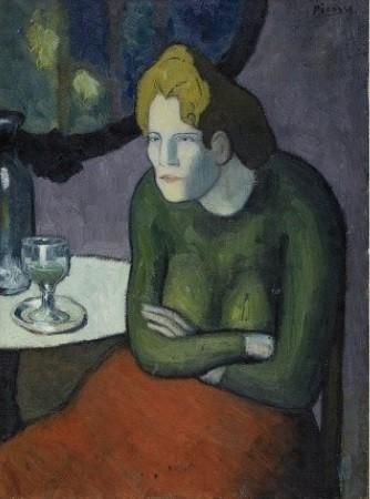 En Picasso, esa soledad contagia e impregna el ambiente. En la Bebedora de absenta la figura está inmóvil: los brazos cruzados.Parece ensimismada,todo parece recorrido por una fuerte tensión que aísla profundamente.