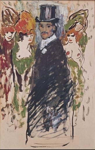 Pablo Picasso.Picasso con chistera Paris 1901. öleo sobre papel, 50x33cm.Colección privada.