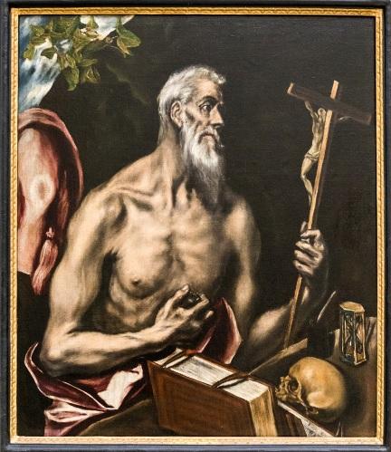 El Graco.San Jerónimo penitente. 1600. De perfil y de media figura con el torso desnudo y avejentado mira el crucifijo.