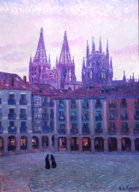 Plaza de Burgos al atardecer,1906.Óleo sobre lienzo.80x50cm.Colección particular.