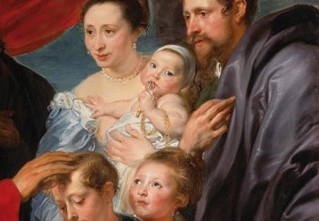Humildad y devoción en este monumento a la familia,pasaje evang Mt19,Mc10 o Lc18,por cierto muy poco representado en el arte occid,pero promovido por la Contrareforma,en el contexto de lucha religiosa entre visión luterana y anababtista de bautismo infant