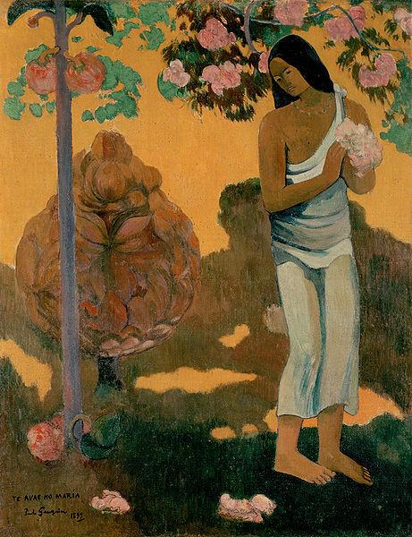 Paul Gauguin.1899. Te avae no María (El mes de María) El florecimiento de la vegetación constituye un asunto central que destaca sobre fondo amarillo.Oleo sobre lienzo