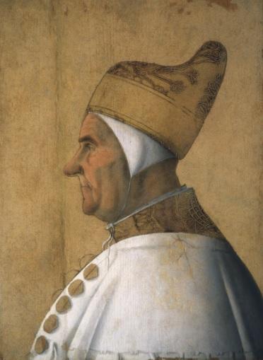 Gentille Bellini. Retrato del Dux Giovanni Mocenigo 1478-83..Óleo y temple sobre tabla. Símbolo en sí mismo de referencia identitaria e icónica encarnación de la esencia del poder político de la ciudad.