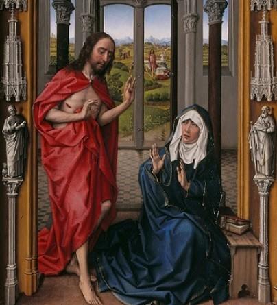 En la tercera tabla se le aparece su Hijo, ya vestida de azul, con una profundidad gracias al paisaje de las ventanas góticas.Los pórticos que enmarcan la obra sugiere madera pero las pequeñas esculturas parecen piedra, acentuando el efecto ilusionista.