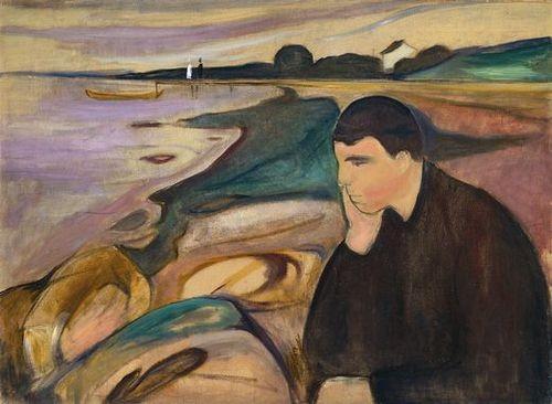 Inugura con esta pintura a Jappe Nilson, amigo suyo un lenguaje simbólico y poético nuevo que acrecienta intensidad emocional con la reducción formal del paisaje y el rostro del personaje arrinconado en primer término.