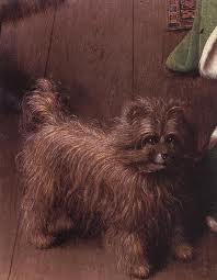 Detalle del perro. Matrimonio Arnolfini.