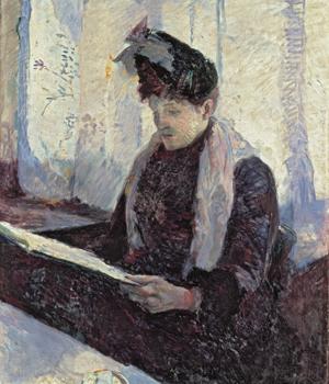 """Toulouse Lautrec.Mujer en un café 1886.Óleo sobre lienzo,61x50cm.Colección Abelló. Madrid.La visión de Lautrec no es """"voyeristica"""" sino cotidiana, metáforas sociales de refinamiento y marginalidad."""