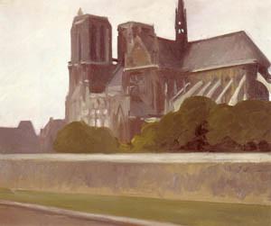 E. Hopper. Notre Dame.11907.Óleo sobre lienzo.59x73.Whitney Museum of American Art.Nueva York. Arquitectura protagonista de atmósfera indefinida, fachadas grises de su etapa parisina, lienzos inacabados, disolución de formas.