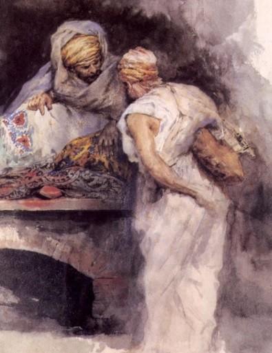 Mariano Fortuny Marsal,Mercader de tapices 1867.Acuarela sobre papel.