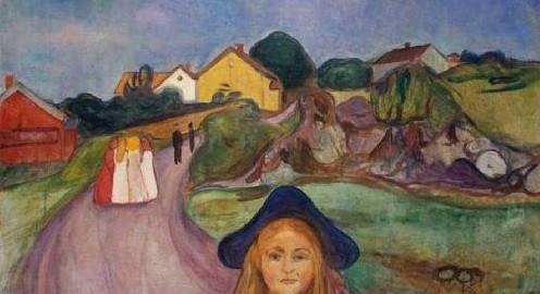 Detalle Edvard Munch.Calle de Aagaardstrand,1901.Supo convertir la naturaleza en fuente inagotable y potencial vital.Pintor y grabador noruego,precursor del expresionismo alemán.