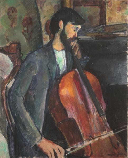 Modigliani,el violonchelista.Simplifica y purifica para captar lo esencial, resultado de una larga meditación, contornos marcados en color azul.