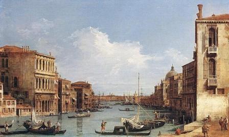 Canaletto, El gran canal de Venecia desde el campo di San Vio, 1729.La obra muestra el interés del pintor por captar la vida cotidiana de la ciudad.Atmósfera plateada, armonía de azul grisáceo.Empleó procedimientos ópticos como la cámara oscura.