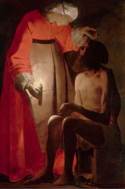 Job y su mujer.Considerado con razón como una de sus obras maestras, la cima de su creación y de su experiencia espiritual.Los efectos de la iluminación artificial son fascinantes.
