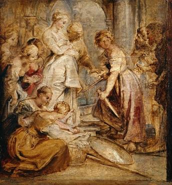 Aquiles descubierto por Ulises y Diomedes.1615.Óleo sobre tabla 28x26cm.Cambridge Museum. Poema épico del romano Estacio, la Aquileida todo un mito de la Antiguedad.La madre de Aquiles le disfrazó de mujer pero al ver las armas reconocen su identidad.