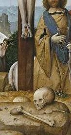 Detalle de calavera. Crucifixión de Juan de Flandes. S. XV