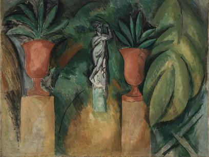 Estatua con dos jarrones,1908.En su dialéctica naturaleza-cultura, siempre encontró una síntesis entre ambas.Asimiló las enseñanzas de Cézanne construyendo un espacio y geometrizando las formas,triángulos, tejados, cubos,casas con cierta visión personal.