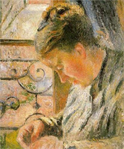 La señora Pisarro cosiendo junto a la ventana 1877.Óleo sobre lienzo.54x45cm.The Ashmoleam Museum,Oxford,donación de la familia Pisarro. Deliciosas escenas domésticas familiares donde el artista centra la atención en las manos laboriosas de su mujer.