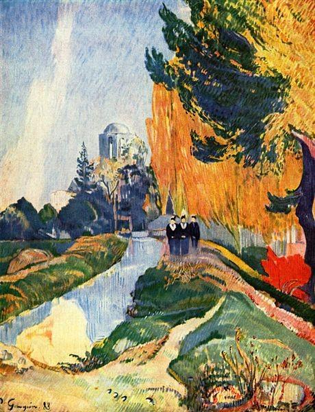 Paul Gauguin.Les Alyscamps,1888.91x72cm.El descubrimiento de aquellos parajes le hizo olvidar preocupaciones materiales y morales.Siempre con una idea misteriosa de la naturaleza.