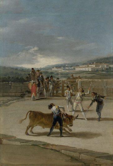 Banderilleros.1793.Francisco de Goya.42x32cm.Durante su convalecencia en 1793 desarrolló un gusto por lo trágico las realizó al óleo sobre hojalata con imprimación clara,efecto de luminosidad y transparencia.Inventiva e imaginación remedio contra el tedio