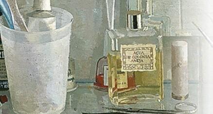 """Detalle de Lavabo y espejo.Para el comisario de la exposición,Guillermo Solana podría ser esta obra un""""autorretrato invisible""""y el frasco de colonia,cepillos,esmalte jabón,descifrados como utensilios de pintura,el resultado sería un auorretrato del oficio"""