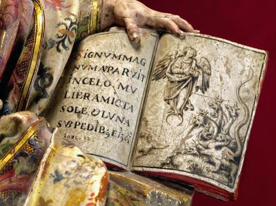 San Juan Evangelista, Pedro Roldán,1655,Clarisas Franciscanas de Montilla, Córdoba.Cuenta la tradición que San Juan, exiliado en la isla de Pathmos,Mar Egeo, escribió varias cartas,luego agrupadas en el Apocalípsisis.