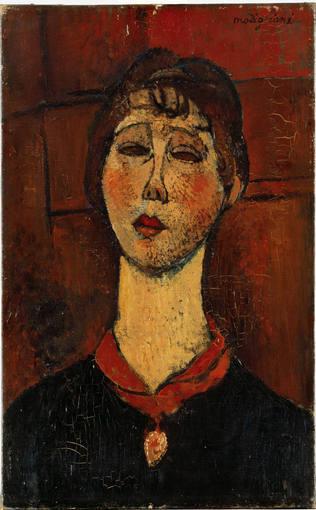 Modigliani.Retrato de la Señora Dorival,1916.Su experiencia como escultor tendría consecuencias fundamentales en su estilo,que se plasmarían en la simplificación de la imagen y en el uso del color.Aire familiar de elegancia en el alargamiento de su rostro